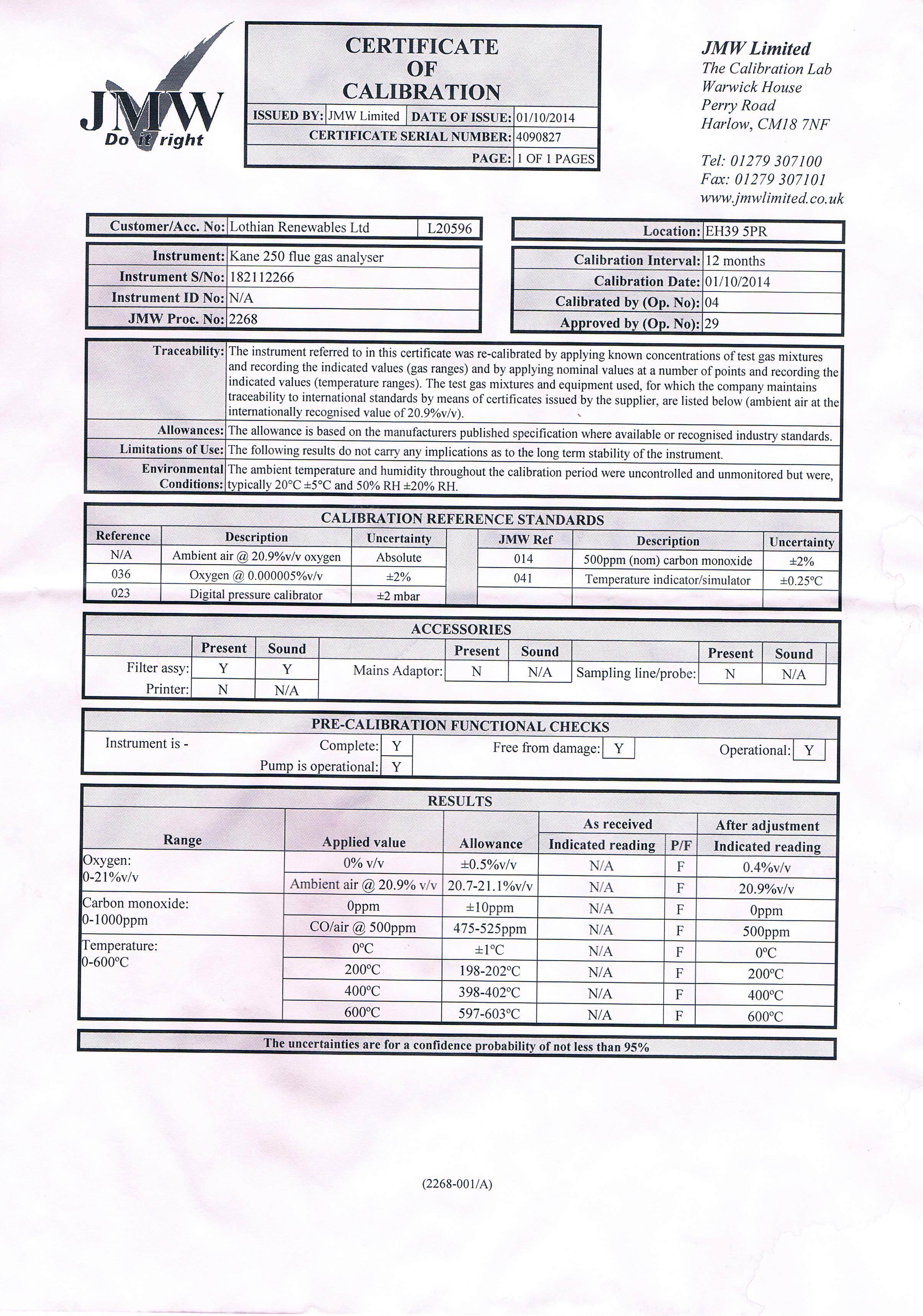 Famoso calibration certificate colecci n de im genes for Pressure gauge calibration certificate template